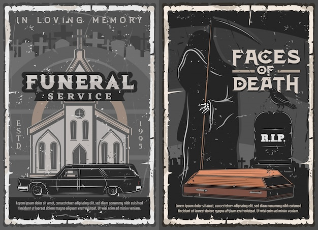 Ataúd de funeral, cementerio, muerte e iglesia.