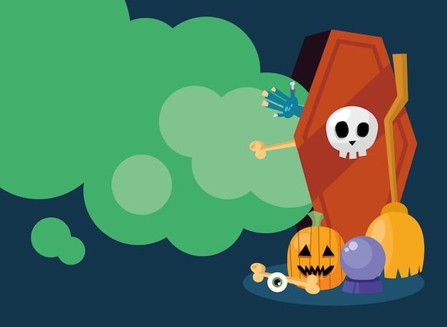 Ataúd de halloween con diseño de calabaza y esfera, tema aterrador
