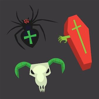 Ataúd de imágenes decorativas de halloween con cráneo de animal de mano y araña con cruz en la espalda.icono de vector