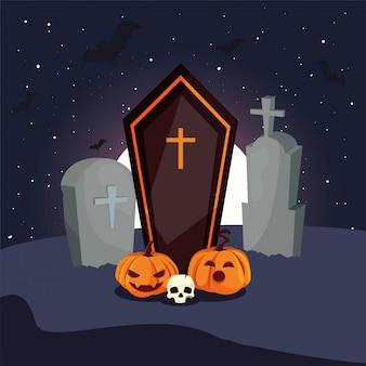 Ataúd de madera con cruz cristiana en la escena del cementerio