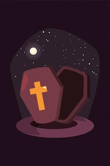 Ataúd de madera con cruz cristiana en escena de halloween