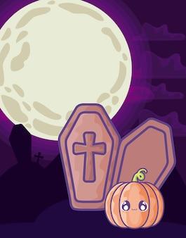 Ataúd de madera con cruz cristiana en la escena de halloween