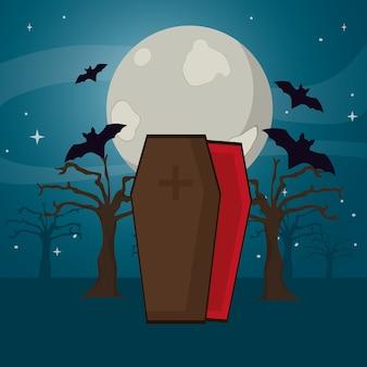 Ataúd de vampiros y árboles con murciélagos y luna