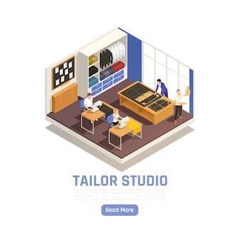 Atelier de moda estudio de alta costura interior isométrico.