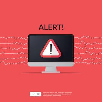 Atención advertencia atacante alerta señal con signo de exclamación en la pantalla del monitor de la computadora. cuidado con el icono de símbolo de peligro de internet.
