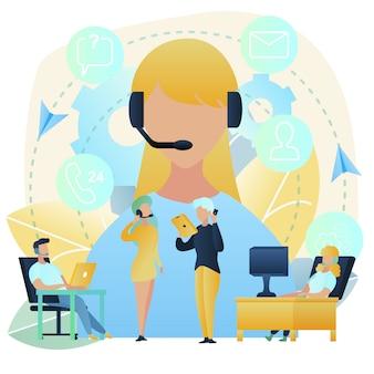 Atención al cliente con call center vector concept