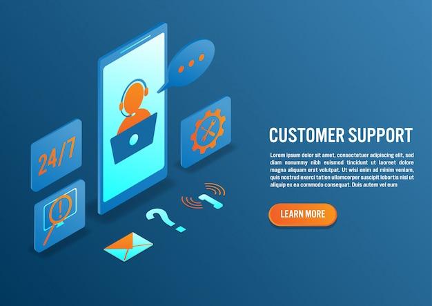 Atención al cliente en diseño isométrico.