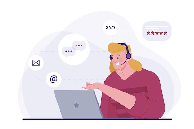 Atención al cliente de ilustración plana orgánica