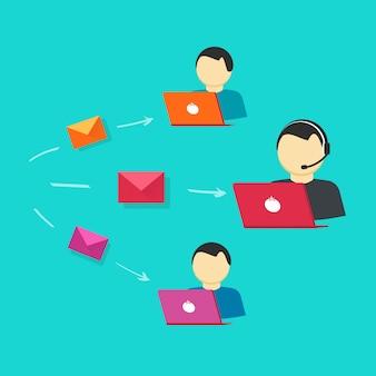 Atención al cliente en línea o asistencia de operadores de vectores