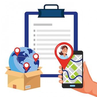 Atención al cliente servicio logístico cartoon