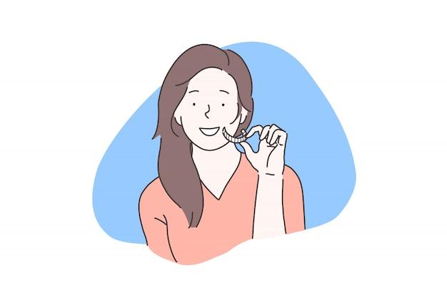 Atención domiciliaria de la cavidad oral, concepto de blanqueamiento dental
