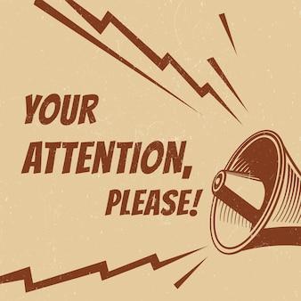 Atención por favor cartel con megáfono de voz