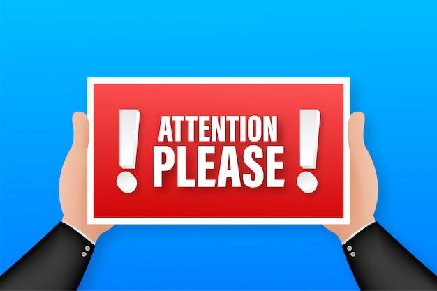 Atención por favor. plantilla de infografía empresarial. banner de megáfono ilustración de stock