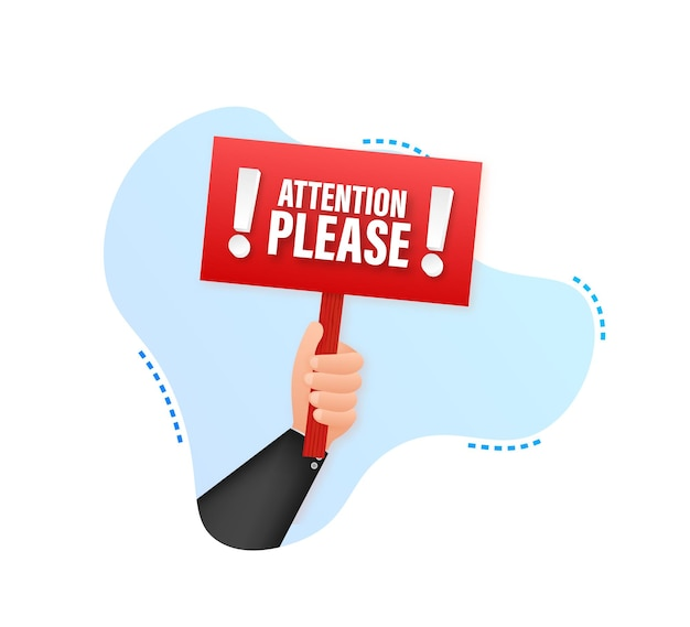 Atención por favor plantilla de infografía empresarial cartel con banner de mano