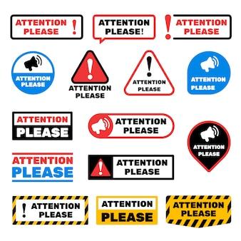 Atención por favor señales de mensajes. alerte las etiquetas de información importante
