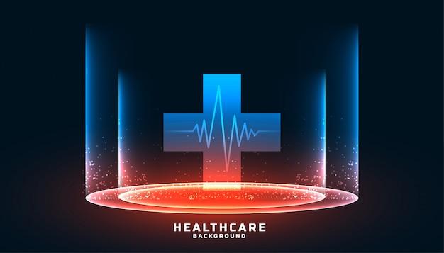 Atención médica y antecedentes médicos con símbolo de cruz