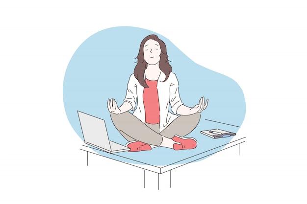 Atención plena, meditación, concepto de salud mental.