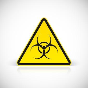 Atención señal de peligro biológico. símbolo en signo triangular