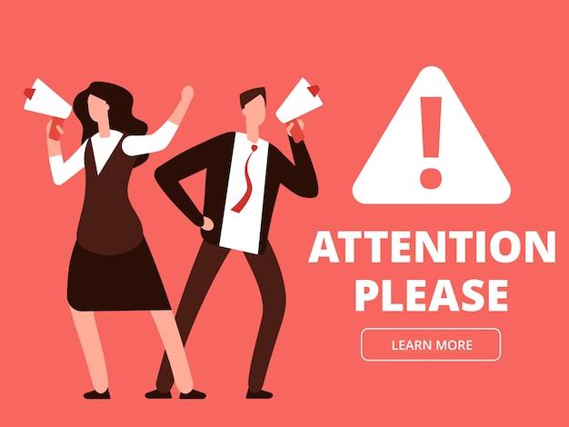 Atención vector banner o plantilla de página web con dibujos animados hombre y mujer con megáfonos