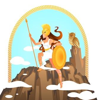 Atenea diosa griega olímpica con lanza de oro