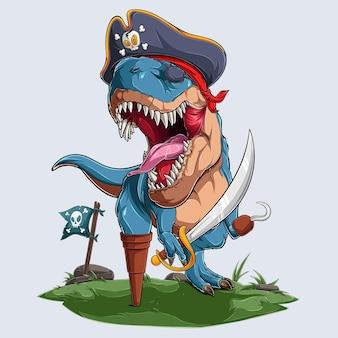Aterrador dinosaurio pirata trex rugiendo para la fiesta de halloween