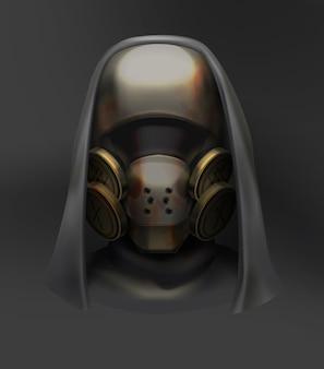 Aterrador personaje post apocalíptico con máscara de gas