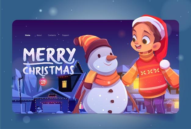 Aterrizaje de dibujos animados feliz navidad con muñeco de nieve niña