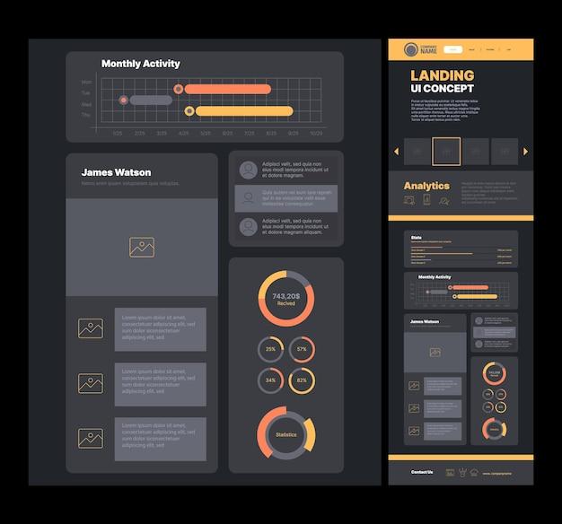 Aterrizaje empresarial. plantilla web página de promoción navegación del sitio web de la empresa wireframes diseño vectorial llamativo. plantilla de aterrizaje de sitio web de ilustración, interfaz de diseño de página