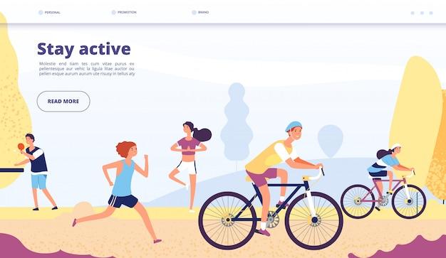 Aterrizaje de estilo de vida activo. gente ciclismo, ejercicios de fitness. personas montando bicicleta, corriendo en el parque de otoño, página de aplicaciones deportivas