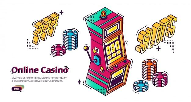 Aterrizaje isométrico de la casa de juego del casino en línea