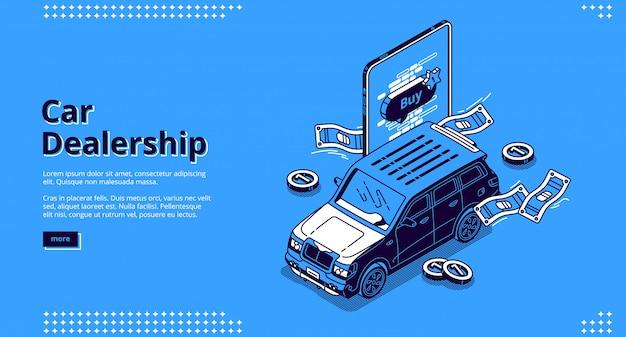 Aterrizaje isométrico de concesionario de automóviles con automóvil.