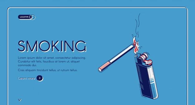 Aterrizaje isométrico de fumar, cigarrillo y encendedor