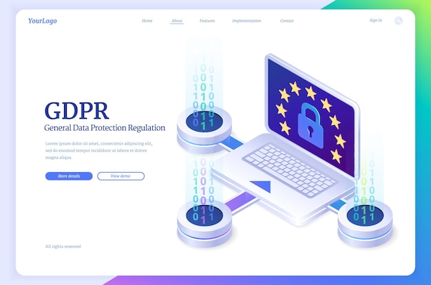 Aterrizaje isométrico de protección de datos general de gdpr