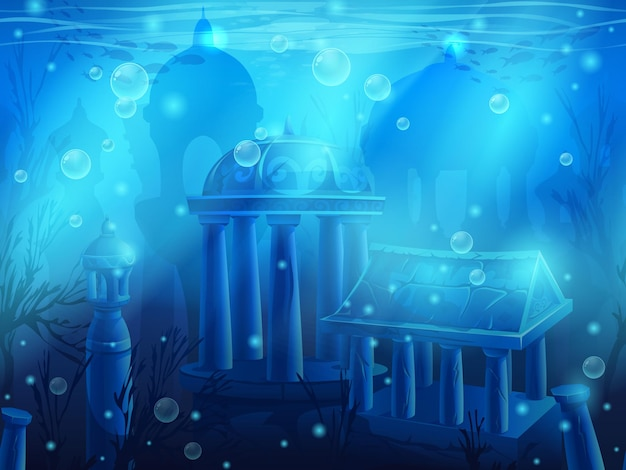 Atlantis. ciudad sumergida bajo el agua, las antiguas ruinas del este.