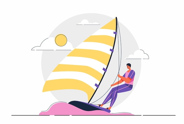 Atleta abstracto hombre de vela de competición deportiva en el mar, ilustración de personaje de dibujos animados