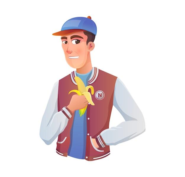 Atleta de béisbol adolescente comiendo un plátano