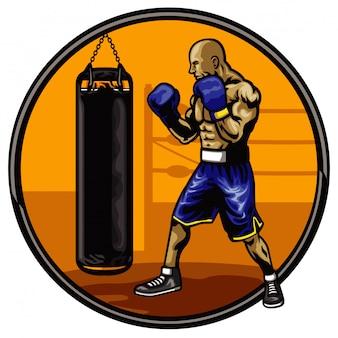 Atleta de boxeo entrenando en un gimnasio