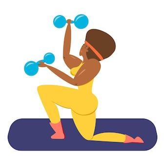 Una atleta femenina negra una mujer negra con pesas en sus manos sacude sus músculos ilustración vectorial