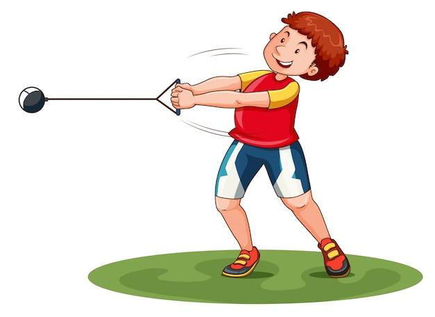 Atleta girando ponderación en el campo