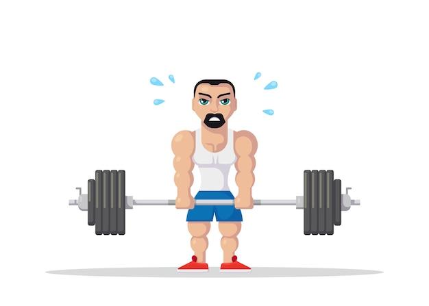 Atleta hombre fuerte haciendo ejercicio de peso muerto en el gimnasio. concepto de entrenamiento de gimnasio. diseño de personajes de estilo plano.