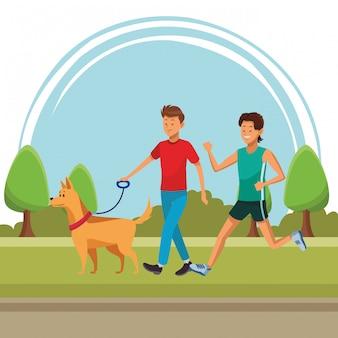 Atleta y hombre con perro