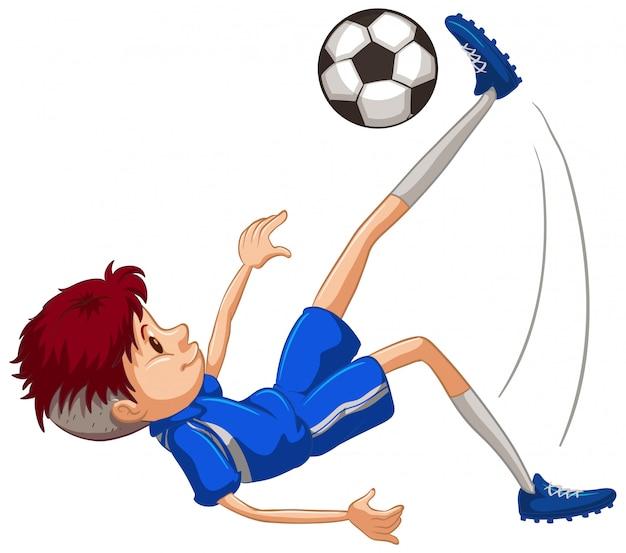Atleta jugando fútbol en blanco