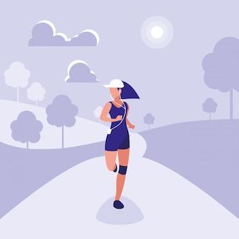 Atleta mujer corriendo personaje avatar