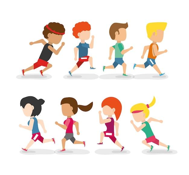 Atletas corriendo en el campeonato de competencia