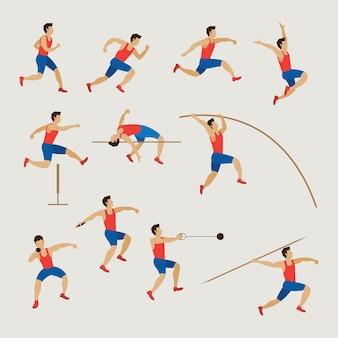 Atletas deportivos, pista y campo, conjunto de hombre