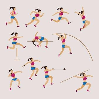 Atletas deportivos, pista y campo, conjunto de mujer