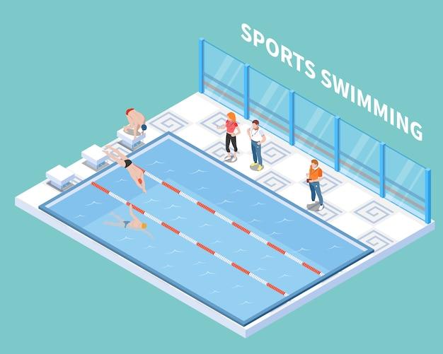 Atletas y entrenadores durante el entrenamiento de natación deportiva en composición isométrica de piscina pública en turquesa