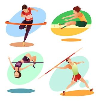 Atletas entrenados de dibujos animados haciendo deporte