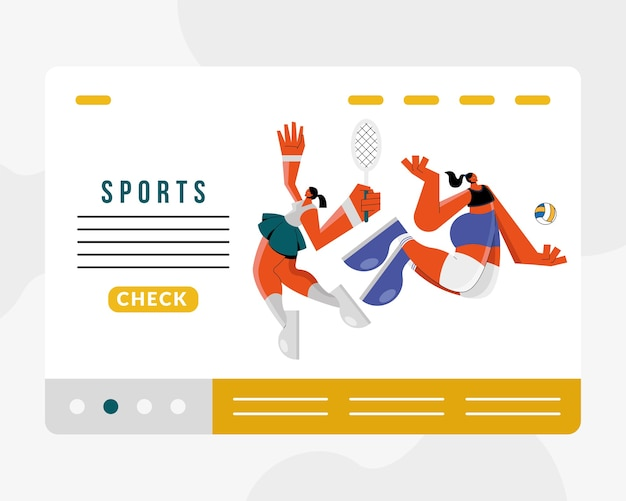 Atletas femeninas que practican voleibol y tenis, diseño de ilustraciones de personajes deportivos