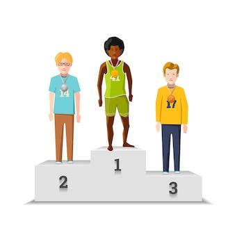 Atletas de ganancias masculinas planas con medallas en el podio blanco aislado